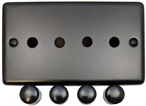 G&H CFB14-PK Standard Plate Matt Black 4 Gang Dimmer Plate Only inc Dimmer Knobs